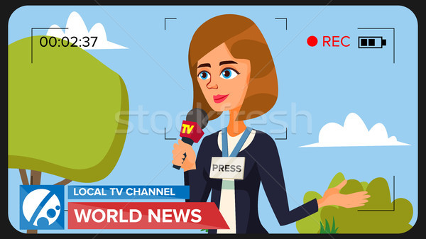 TV Reporter Presenting News. Vector Concept. Video Camera Viewfinder. Female Recording TV News. Prod Stock photo © pikepicture
