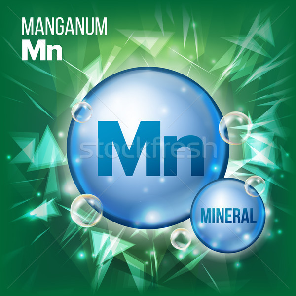 Mn Manganum Vector. Mineral Blue Pill Icon. Vitamin Capsule Pill Icon. Substance For Beauty, Cosmeti Stock photo © pikepicture