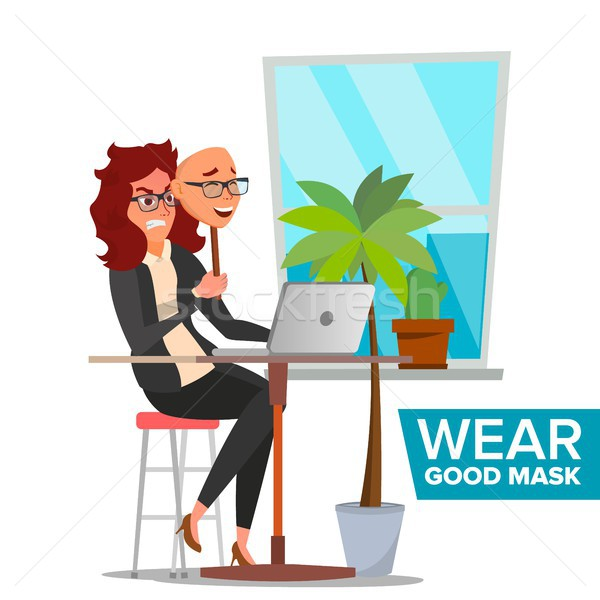 Fake Person Vector. Bad, Tired Woman. Deceive Concept. Business Woman Wear Smile Mask. Isolated Flat Stock photo © pikepicture