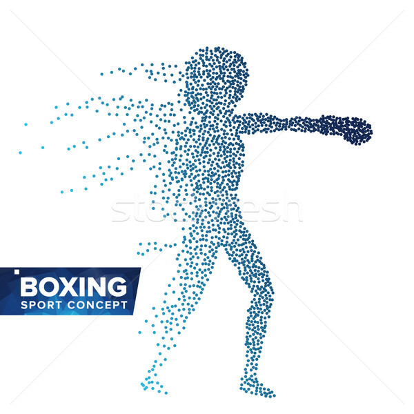 Boxing Player Silhouette Vector. Halftone Dots. Dynamic Boxing Athlete In Action. Flying Dotted Part Stock photo © pikepicture