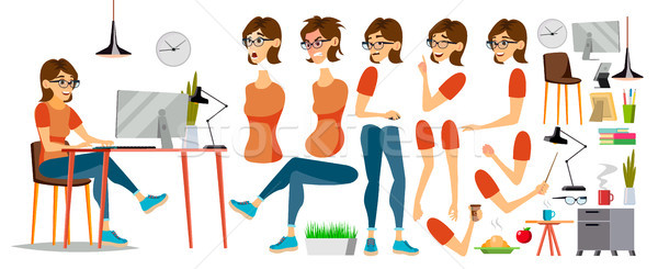 Business Woman Character Vector. Working Female Girl. Clerk Working At Office Desk. Animation Set. A Stock photo © pikepicture