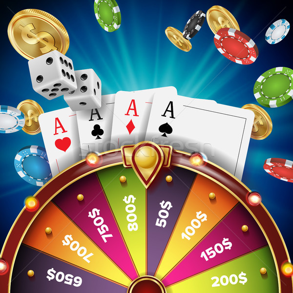 Fortune Wheel Design Vector. Realistic 3d Object. Winner Jackpot Background. Glowing Leisure Illustr Stock photo © pikepicture