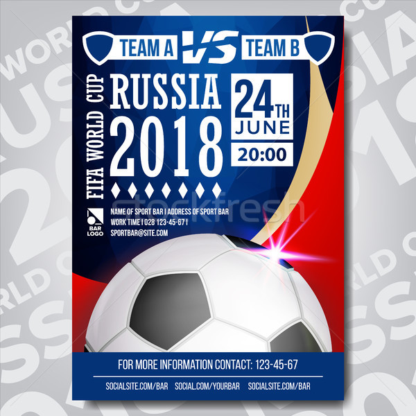 2018 FIFA World Cup Poster Vector. Russia Event. Soccer Design For Sport Bar Promotion. Football Bal Stock photo © pikepicture