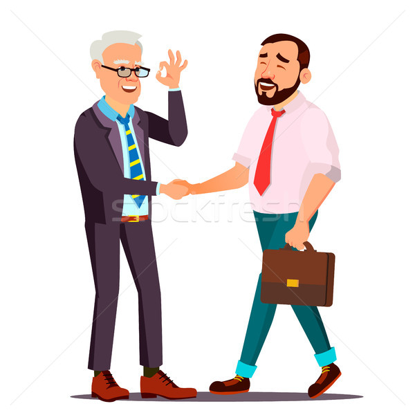 Happy Client Vector. Customer Person. Shaking Hands. Partnership. Important Client. Business Connect Stock photo © pikepicture