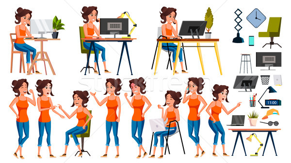 Office Worker Vector. Woman. Happy Clerk, Servant, Employee. Business Woman Person. Lady Face Emotio Stock photo © pikepicture