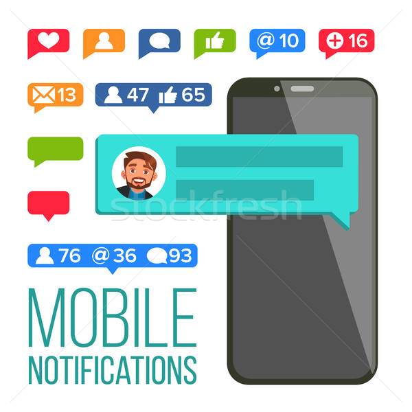 Chat Notification Vector. Mobile Phone. Messages, Likes, E-mail Bubbles. Web Online Talking, Dialog. Stock photo © pikepicture