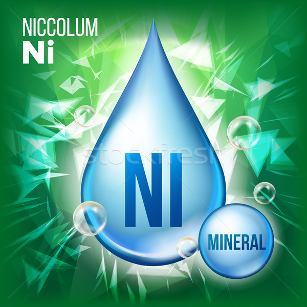 Ni Niccolum Vector. Mineral Blue Drop Icon. Vitamin Liquid Droplet Icon. Substance For Beauty, Cosme Stock photo © pikepicture