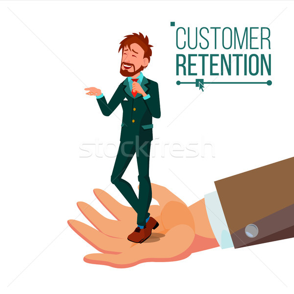 Customer Retention Vector. Businessman Hand With Man Client. Customer Care. Save Loyalty. Support An Stock photo © pikepicture