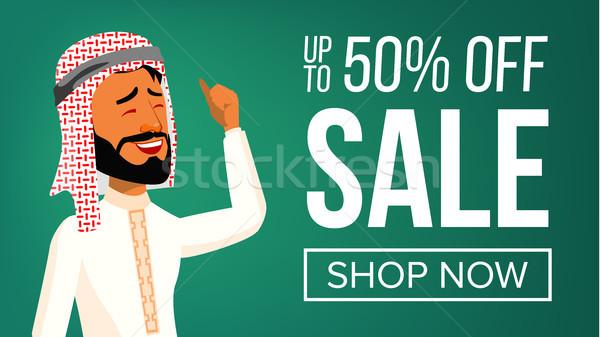 Arab man banner vector mensen Stockfoto © pikepicture