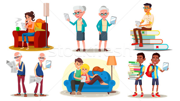 E-Book Reader Concept. Vector. E-Learning. Alternative Device. People Reading With An E-book. Mobile Stock photo © pikepicture