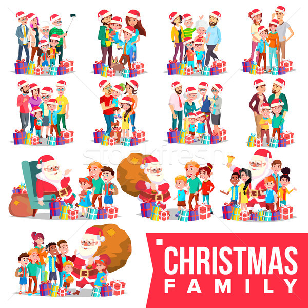 Christmas Family Portrait Set Vector. Full Happy Family. Traditional Event. Santa Hats. Merry Christ Stock photo © pikepicture