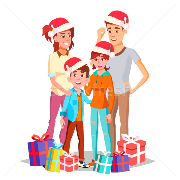 Christmas Family Vector. Dad, Mother, Kids. In Santa Hats. Happy. New Year Gifts. Portrait. Banner,  Stock photo © pikepicture