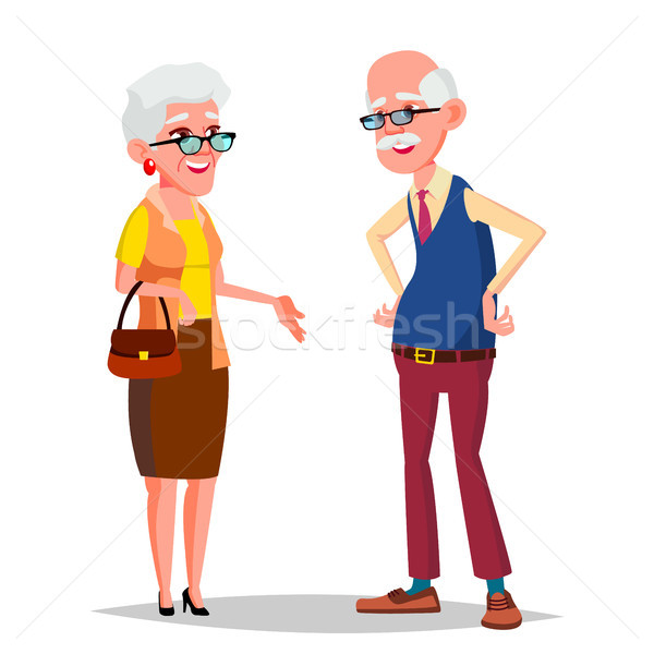 Idős pár vektor nagyapa nagymama ezüst Stock fotó © pikepicture