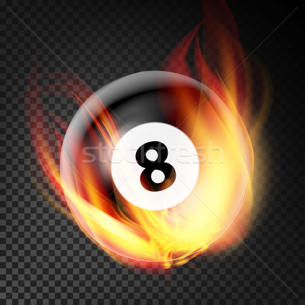 Billiard Ball In Fire Vector Realistic. Burning Billiard Ball. Transparent Background Stock photo © pikepicture