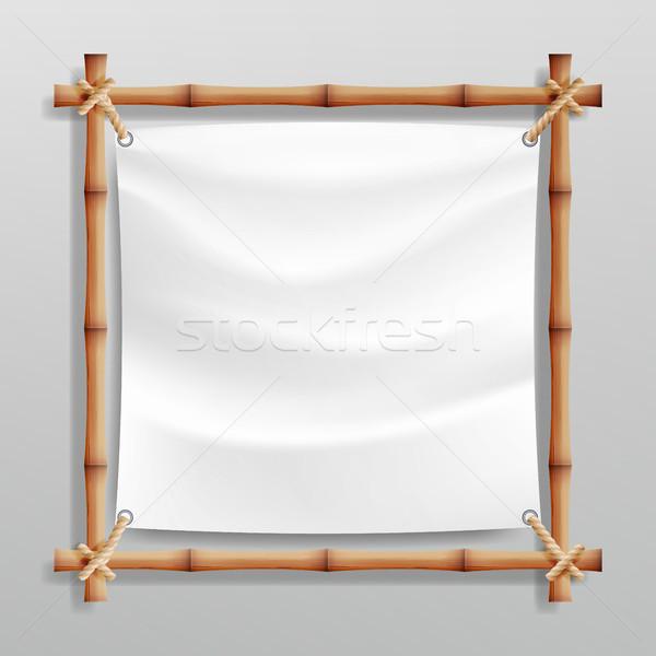 Bambú marco vector blanco lienzo marco de madera Foto stock © pikepicture
