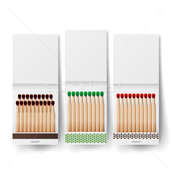 Book Of Matches Vector. Top View Closed Opened Blank. White Blank Matchbooks. Realistic Illustration Stock photo © pikepicture