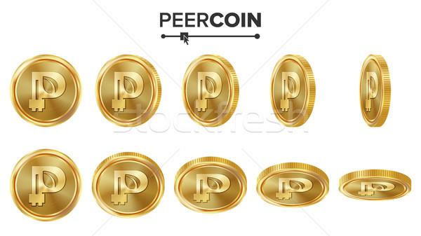 Сток-фото: 3D · Золотые · монеты · вектора · набор · реалистичный · различный
