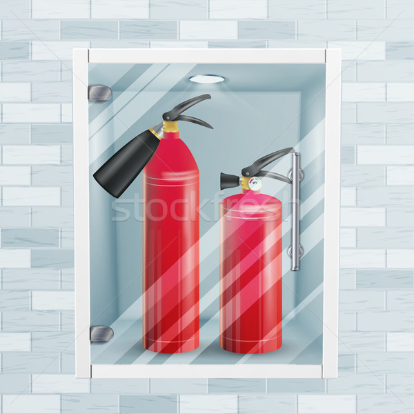Red Fire Extinguisher In Wall Niche Vector. Metal Glossiness 3D Realistic Red Fire Extinguisher Illu Stock photo © pikepicture