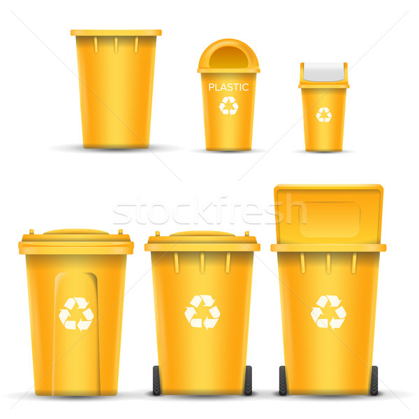 Yellow Recycling Bin Bucket Vector For Plastic Trash. Opened And Closed. Front View. Sign Arrow. Iso Stock photo © pikepicture