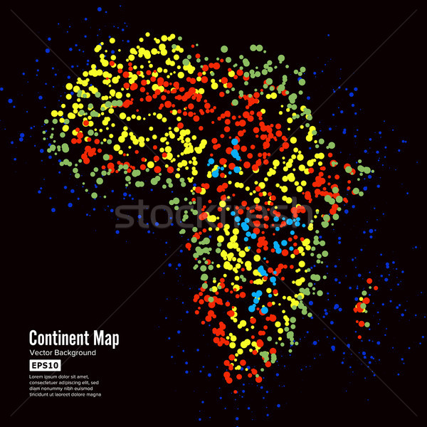 Africa. Continent Map Abstract Background Vector. Formed From Colorful Dots Isolated On Black. Stock photo © pikepicture
