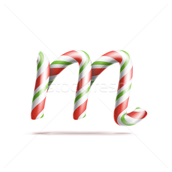 Letter M Vector. 3D Realistic Candy Cane Alphabet Symbol In Christmas Colours. New Year Letter Textu Stock photo © pikepicture