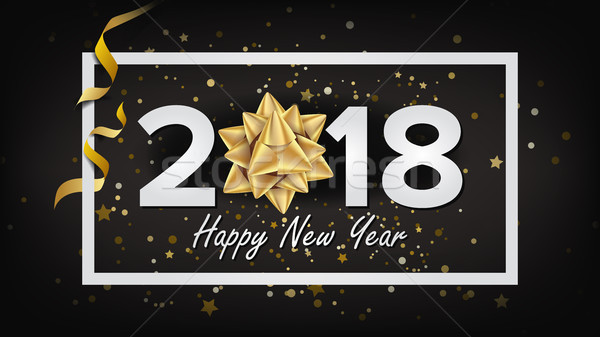 Happy New Year Background 2018 Vector. Realistic Bow. Christmas Greeting Card. Modern New Year Poste Stock photo © pikepicture