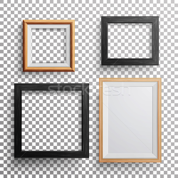 Realistic Photo Frame Vector. 3d Set Square, A3, A4 Sizes Light Wood Blank Picture Frame, Hanging On Stock photo © pikepicture
