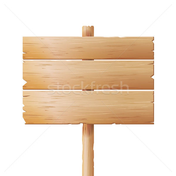 Wooden Signboards Vector. Cartoon Wood Banner Isolated On White Background Stock photo © pikepicture