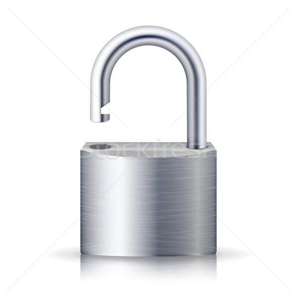 Realistic Unlocked Padlock Vector. Metal Lock For Safety Illustration. Isolated On White With Shadow Stock photo © pikepicture