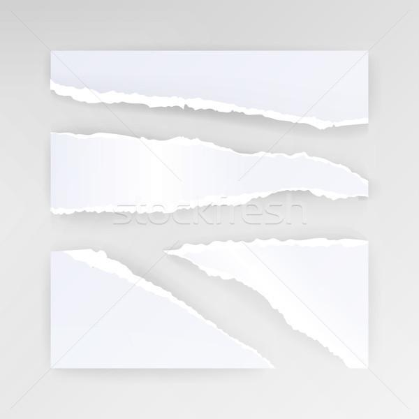 引き裂かれた紙 ベクトル セット 異なる 白紙 ストックフォト © pikepicture