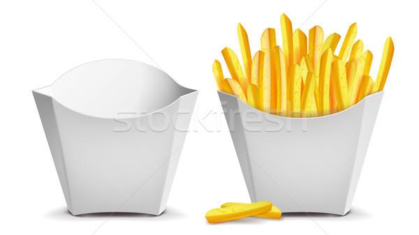 Frites françaises vecteur blanche vide papier vierge sac Photo stock © pikepicture