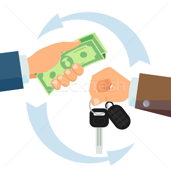 Hand Giving Car Keys Vector. Business Car Rental, Sale Concept. Car Salesman And New Owner. Holding  Stock photo © pikepicture