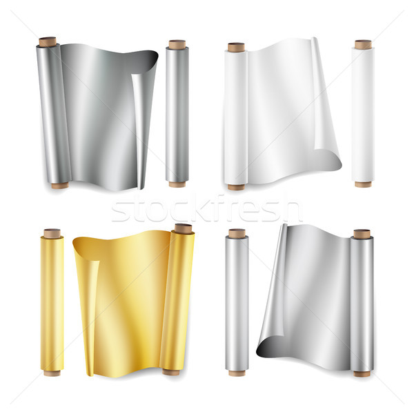 Foil Roll Set Vector. Aluminium, Metal, Gold, Baking Paper. Close Up Top View. Opened And Closed. Re Stock photo © pikepicture