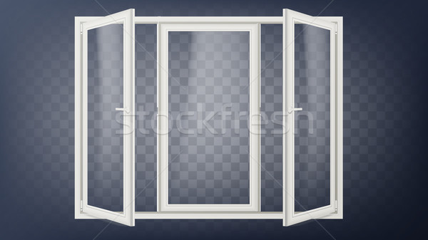 Plastic Door Vector. Plastic Door Frame. Opened Store Door. Building Facade. Energy Saving. Isolated Stock photo © pikepicture
