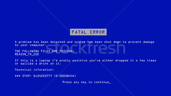 Blue Screen Of Death Vector. BSOD. Fatal Driver, Critical Memory Computer 404 Error. Incompatible De Stock photo © pikepicture