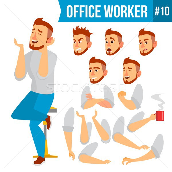 Office Worker Vector. Face Emotions, Various Gestures. Animation Creation Set. Business Worker. Care Stock photo © pikepicture