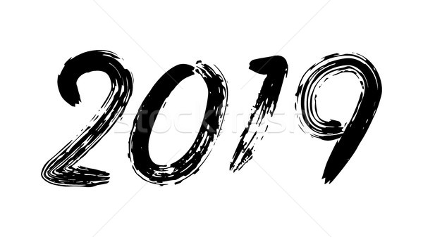 Signe vecteur grunge calligraphie happy new year flyer Photo stock © pikepicture