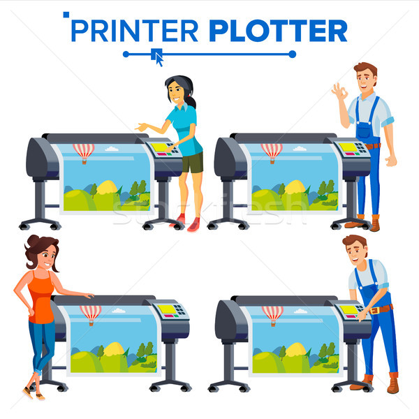 Stock photo: Workers With Plotter Set Vector. Woman, Man. Prints Beautiful Picture, Banner. Print Service. Large