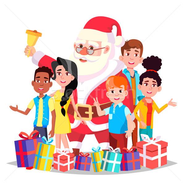 ストックフォト: サンタクロース · 子供 · ベクトル · 幸せ · 子供 · 伝統的な