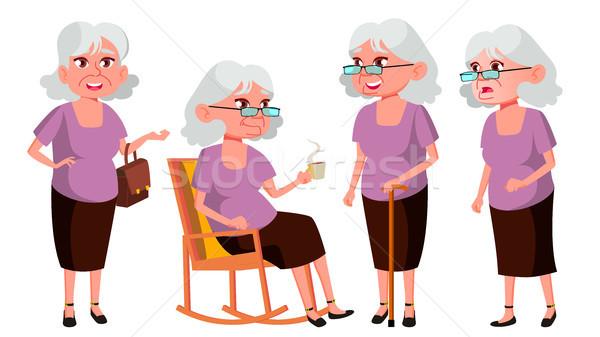 Old Woman Poses Set Vector. Elderly People. Senior Person. Aged. Beautiful Retiree. Life. Presentati Stock photo © pikepicture