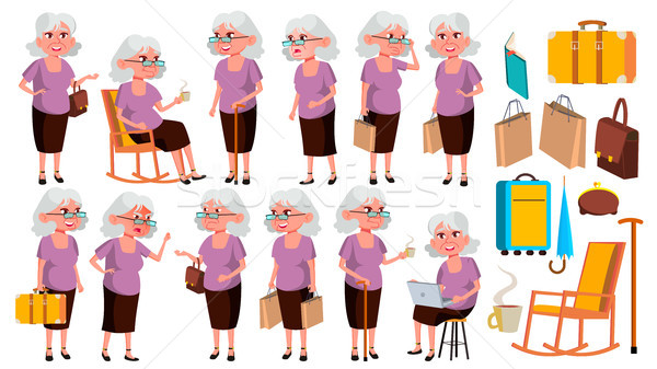 Old Woman Poses Set Vector. Elderly People. Senior Person. Aged. Friendly Grandparent. Web, Poster,  Stock photo © pikepicture