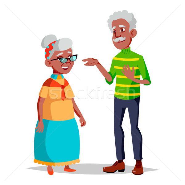 Elderly Couple Vector. Modern Grandparents. Elderly Family. Grey-haired Characters. Isolated Flat Ca Stock photo © pikepicture