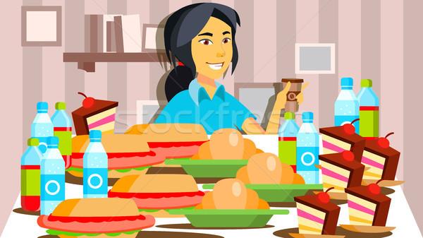 Manger montrent vecteur fille ligne vivre Photo stock © pikepicture