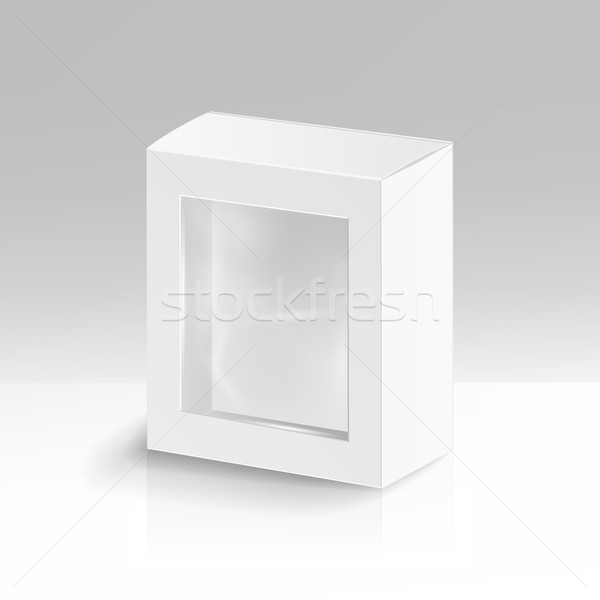 White Blank Cardboard Rectangle Vector. Realistic 3D Isolated Illustration. Soft Shadow Stock photo © pikepicture