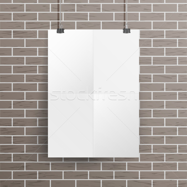 dba9aa16572  8403364 White Blank Paper Wall Poster Mock up Template Vector. Realistic  Illustration. Template Frame Design by pikepicture Stock photo