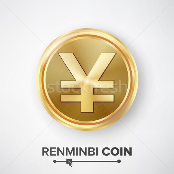 Gouden munt vector realistisch geld teken winkelen Stockfoto © pikepicture