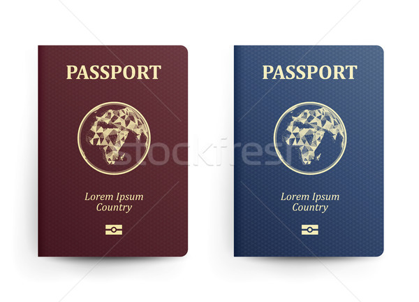 Passport With Map. Africa. Realistic Vector Illustration. Red And Blue Passports With Globe. Interna Stock photo © pikepicture