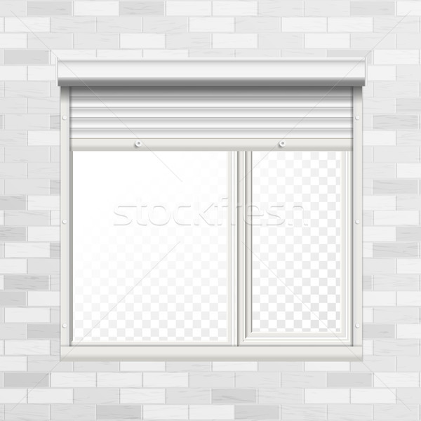 Window With Rolling Shutters Vector. Brick Wall. Front View. Illustration. Stock photo © pikepicture