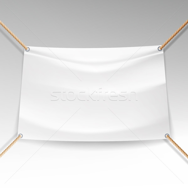 White Banner With Ropes Vector. Empty Textile Hanging Banner Mock Up. Stock photo © pikepicture