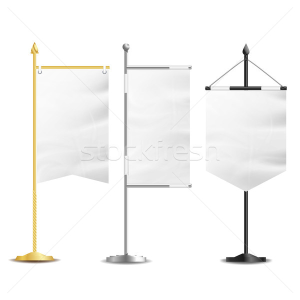 Blank White Flags Pocket Table Vector. Realistic Template Set For Business Promotion And Advertising Stock photo © pikepicture